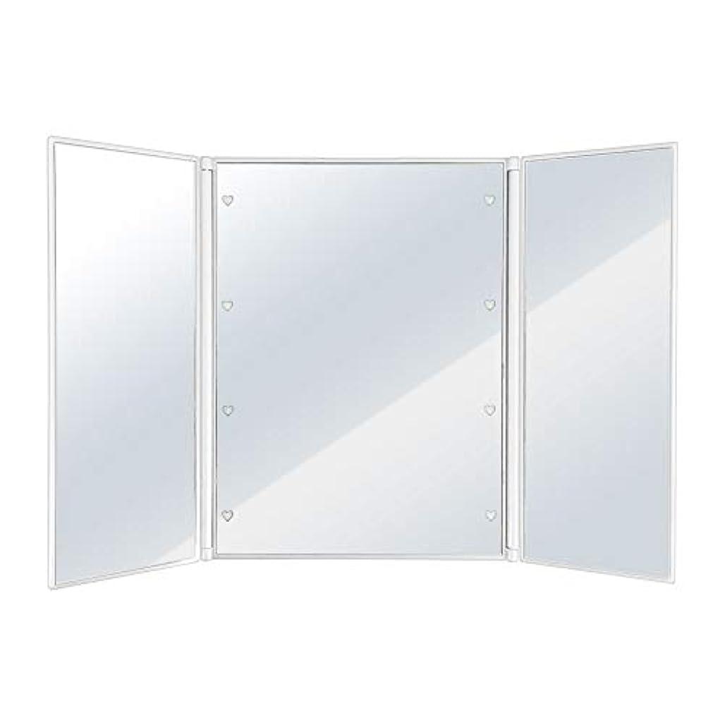あからさま賢い分離するSUGGEST 卓上ミラー LEDライト付 【選べるカラー】 化粧鏡 三面鏡 ビューティーミラー (ホワイト)