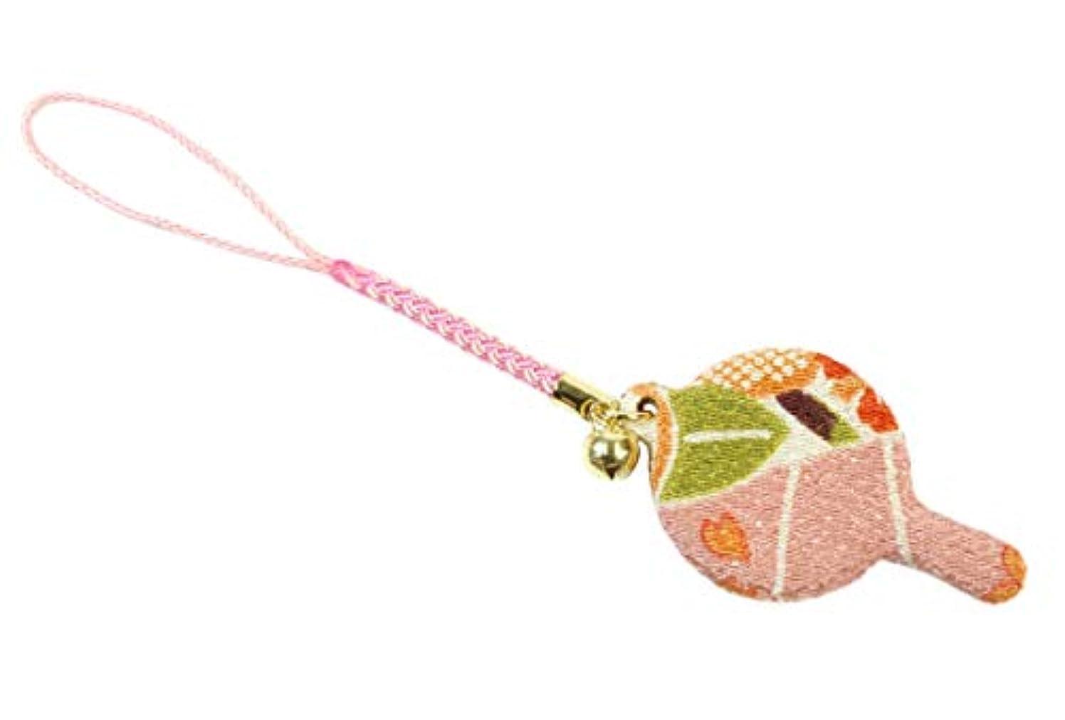 同僚木抜本的なZOON(ズーン) 花ちりめん ミニハンドミラー 桜色 和柄 着物 ちりめん 生地 布製 根付け ミニ鏡 日本製 お土産 桜色