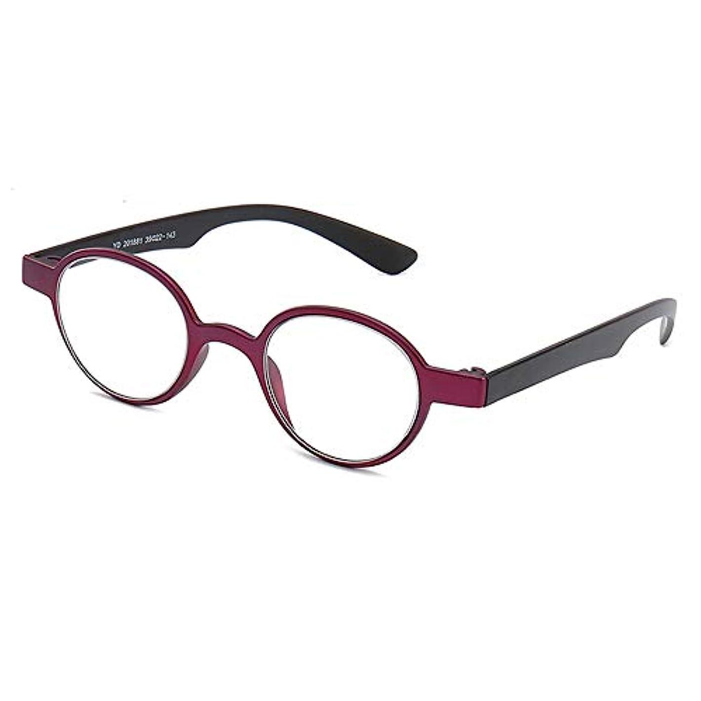 男性と女性のためのポータブルファッションラウンドレトロ老眼鏡超軽量快適なシンプルな抗疲労,赤,+1.5