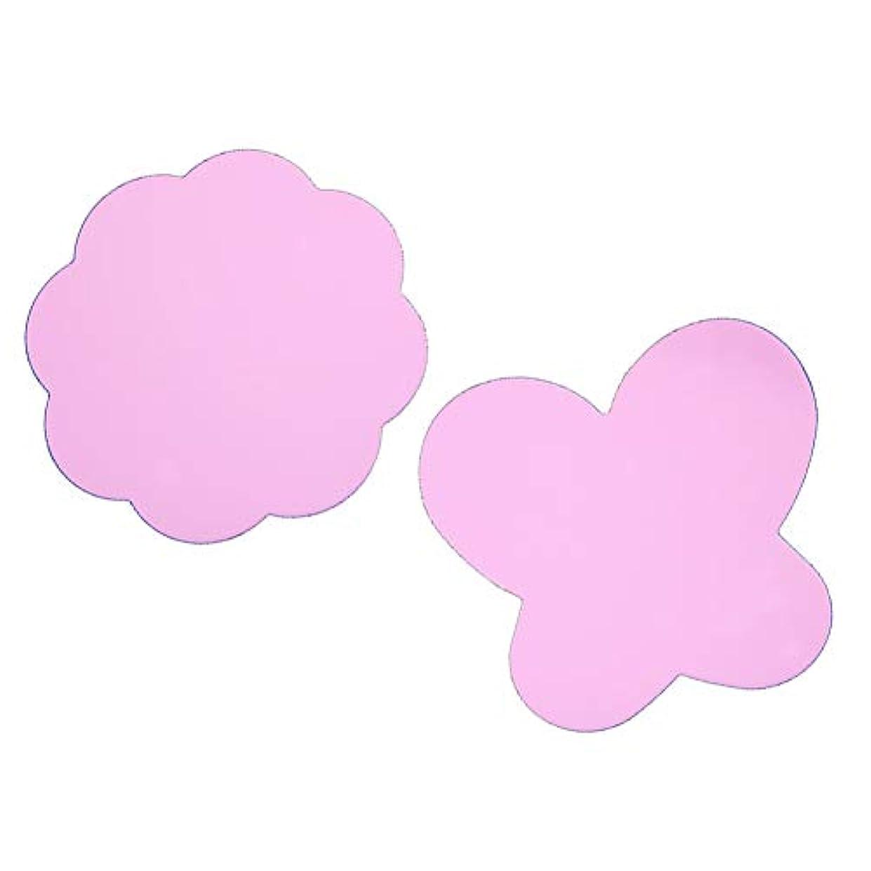 守る乳製品ペネロペ(ピンク)2折り畳み可能なシリコーンパッド塗料パレット洗浄バタフライプラムネイルDIY爪スタンピングツールパッド