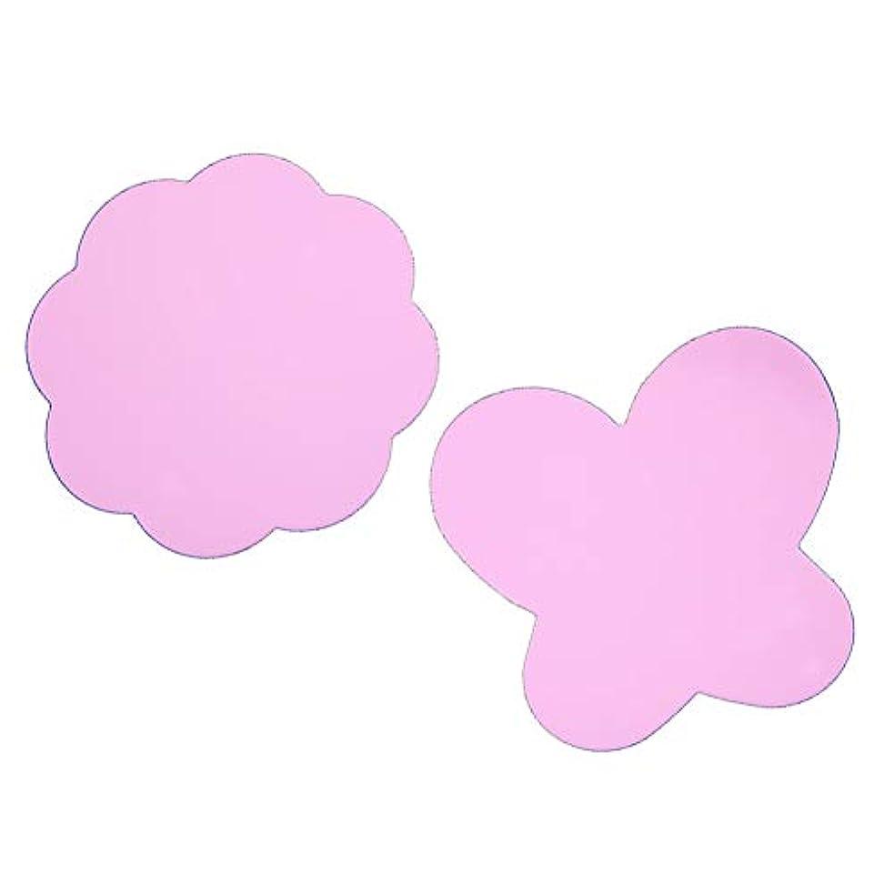 邪悪な扇動調停する(ピンク)2折り畳み可能なシリコーンパッド塗料パレット洗浄バタフライプラムネイルDIY爪スタンピングツールパッド