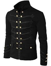 chenshiba-JP メンズスチームパンク英国カスタムフィットゴシックファッションダブルブレストジャケット