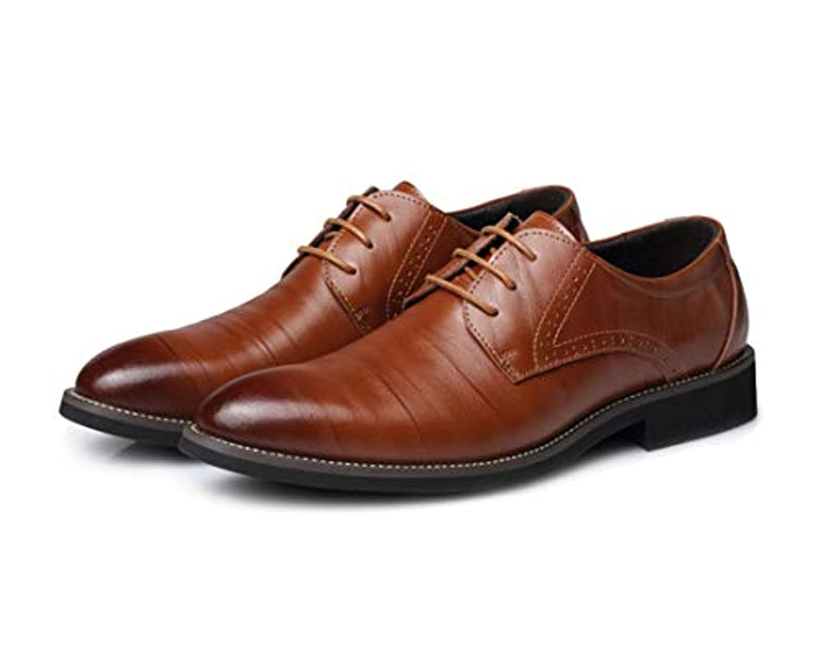 デンプシー正規化汚れたcrazy(クレイジー)メンズシューズ 革靴 ビジネスシューズ 紳士靴 男 靴 滑り止め 軽量 レザー 本革 幅広 (ライトブラウン, 43サイズ)