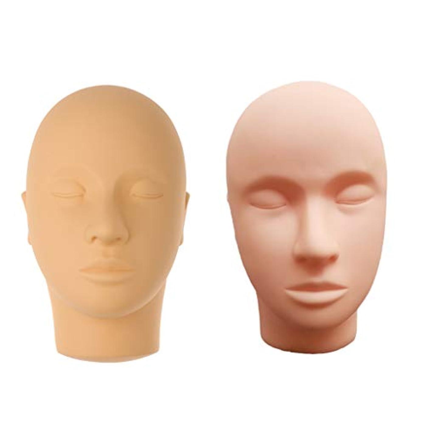 仮装スリットグリップマネキンヘッド 肌色 シリコーン 練習 メイクアップ まつげ エクステ マッサージ練習