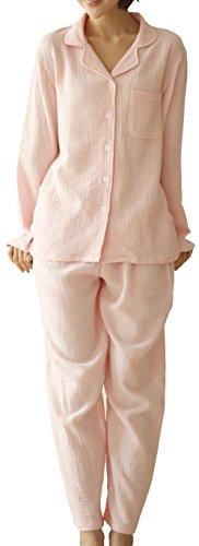 CMG (コモグッド) パジャマ レディース 長袖 綿100 上下 セット 前開き 二重 ガーゼ M ピンク PJ011