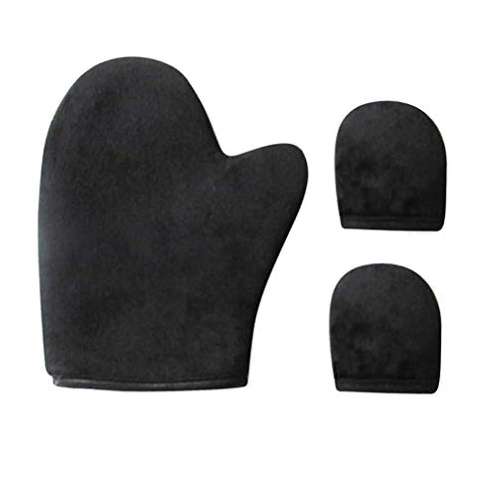 とキャンプ商標HEALIFTY 3PCSセルフタナーミットアプリケータースポンジ日焼け止め手袋化粧オイルSPA手袋サムスーツ(黒)