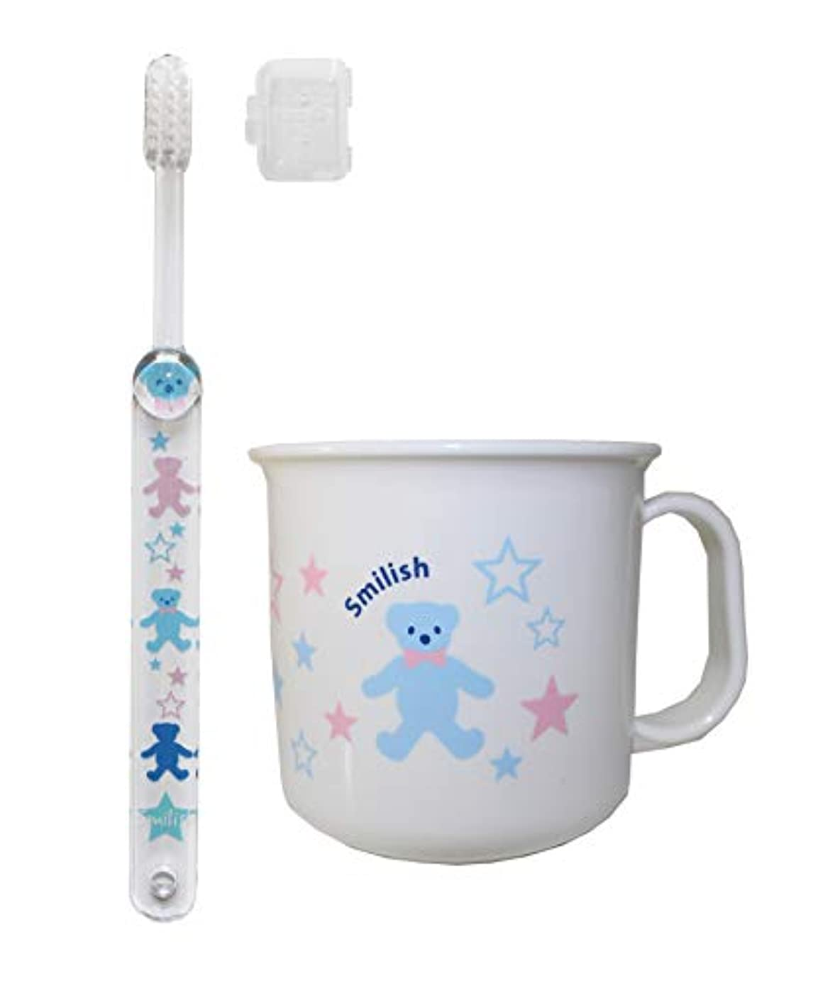 回復分注する習熟度子ども歯ブラシ(キャップ付き) 耐熱コップセット ABCくま柄