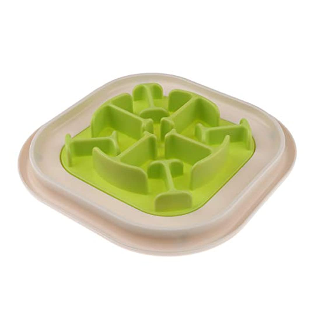 願うクレーン下品amleso フードボウル スロー給餌皿 ペット ゆっくり食べれる食器 犬 猫 消化不良防止 - グリーン, 骨型