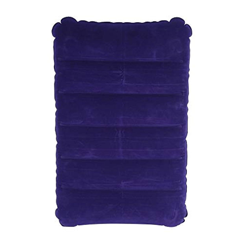 オゾンなめらかな広まったエアーピロー インフレータブル枕 空気枕 自動膨脹可能 ピロー 携帯用 クッション コンパクト アウトドア 旅行 キャンプ 腰と首を支える パープル