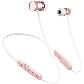 【Bluetooth 5.0 & 20時間連続再生】Bluetooth イヤホン 2019進化版 ネックバンド型 高音質 Bluetooth イヤフォン マグネット搭載 IPX5防水 スポーツ用 ワイヤレス イヤホン マイク内蔵 クリアなハンズフリー通話可能(ピンクゴールド)