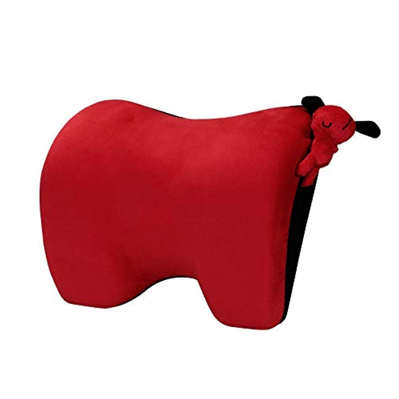 チャイルドシートヘッドレストクッション、快適なトラベルヘッドレストネックスリーピングピロー、低反発フォーム、そして子供と大人のためのネックリリーフ用の人間工学に基づいたヘッドレスト,Red