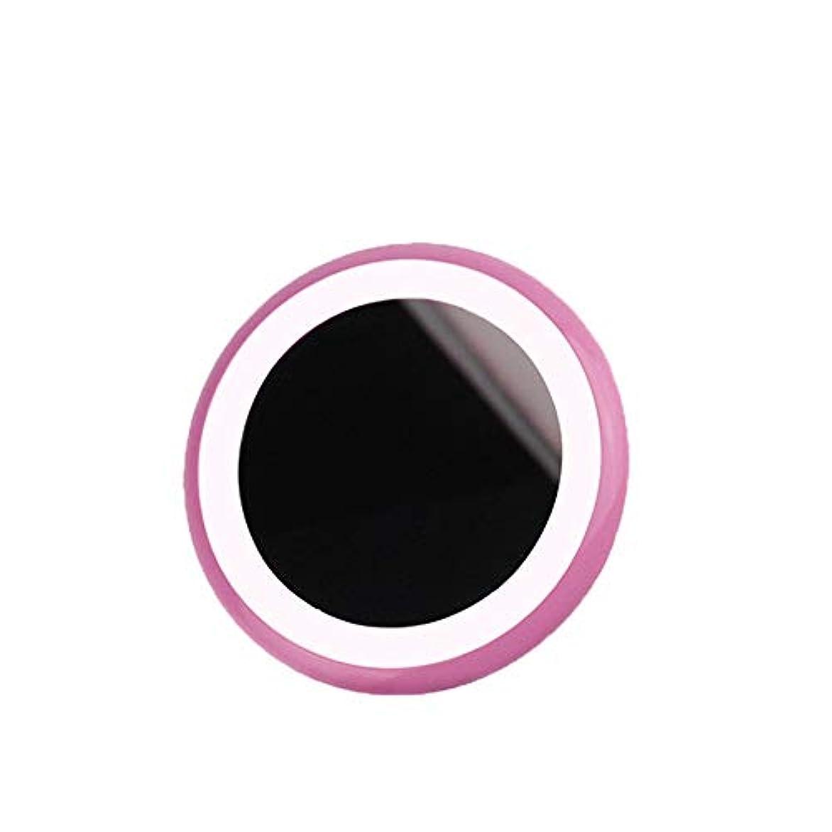 流行の LEDライトメイクアップミラー新しい携帯充電宝物入れミラー美容ミラーABS素材2ピンクブルーセクション