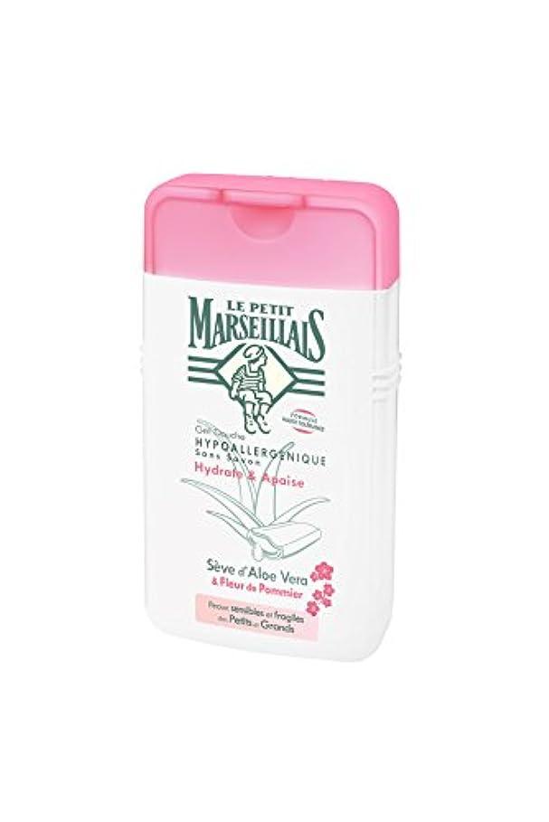 警告するゆるくマークされた「アロエベラ」と「リンゴの花」 石鹸不使用 低刺激 敏感肌用 中性 ミセルシャワージェル フランスの「ル?プティ?マルセイユ(Le Petit Marseillais)」250ml ボディウォッシュ
