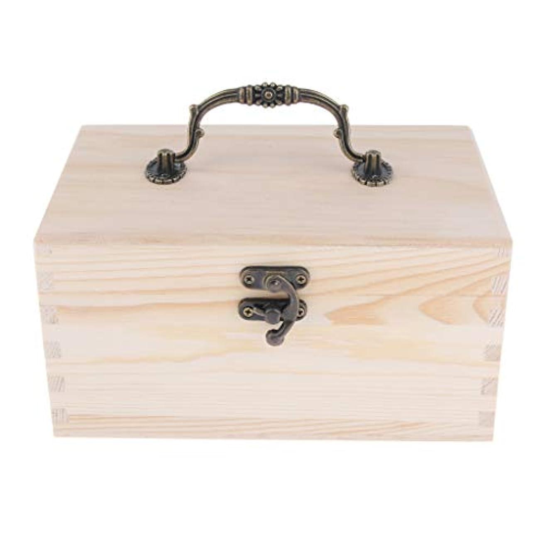 FLAMEER 家庭 サロン オイルケース アロマケース 精油瓶 収納ボックス 天然木 15本用 20ミリボトル