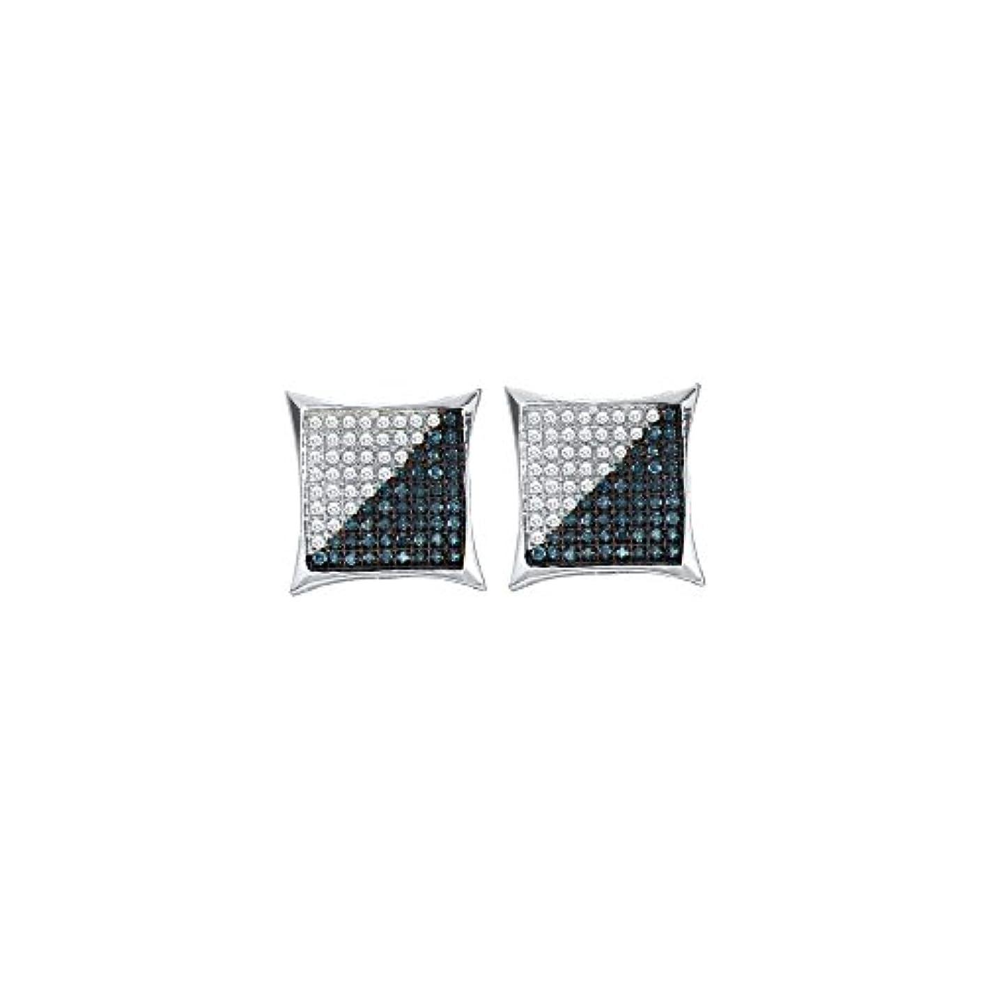 繰り返し平方涙10kt ホワイトゴールド メンズ ラウンド ブルーカラー 強化ダイヤモンド スクエア カイト クラスター ピアス 1/3カラット