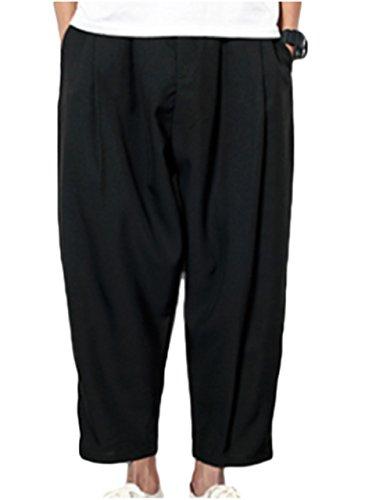 (ワン アンブ) ONE UMB 57303 BK4XL クロップド パンツ 薄手 九分丈 麻 綿 爽やか ブラック 黒 クロ