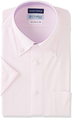 [ハルヤマ] i-shirt 完全ノーアイロン 半袖 ボタンダウンアイシャツ メンズ M162180031 ピンク 日本 LL(首回り43cm) (日本サイズXL相当)