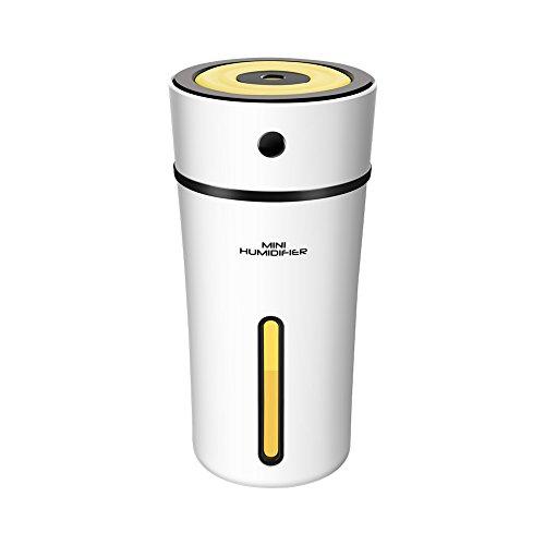 Convida 加湿器 卓上 アロマ 300ml大容量 10時間連続加湿 USB接続 超音波式加湿器 静音 オフィス 寝室 車内乾燥対応 (ホワイト+ブラック)