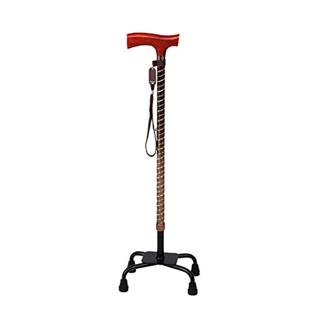 望ましい見かけ上トラフWENJUN プロフェッショナルロープラッピング木製ウォーキング/ハイキングスティック古い4フィートの引き戻し可能なマホガニーウォーキングスティック多機能ノンスリップアシスト4つの爪の松葉杖 (色 : ゴールド)