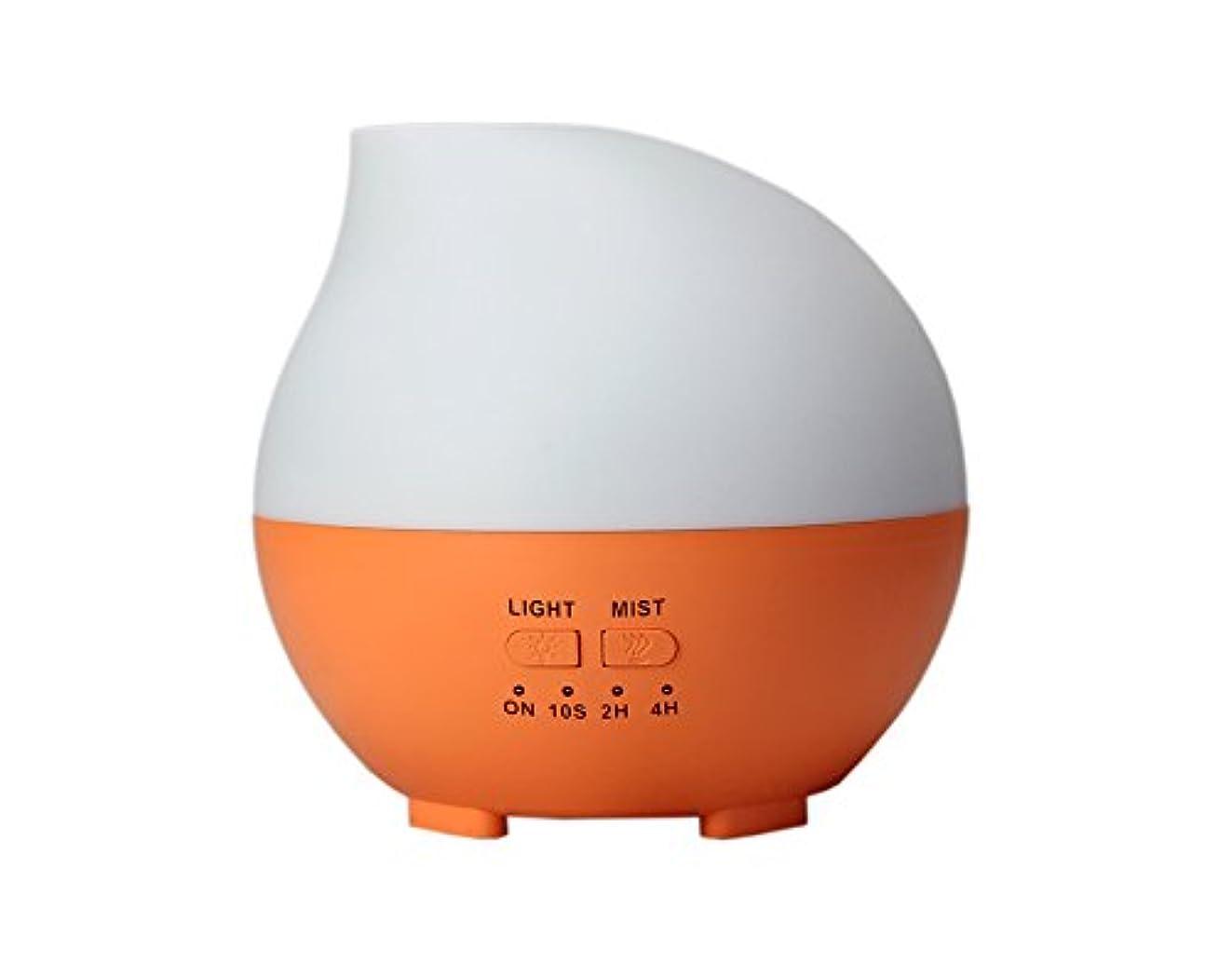 現実スープしわLIBESON 加湿器 卓上 超音波 静音大容量 アロマディフューザー コンセント差し込み式 ムードランプ シンプル ホイップ型 オレンジ