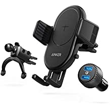 Anker Wireless Charger, PowerWave 7.5 with Air Vent Phone Holder, 7.5W for iPhone 11, 11 Pro, 11 Pro Max, 10W for Galaxy S10 S9 S8, Note 10 Note 9 (Quick Charge Car Charger Included) (Renewed)