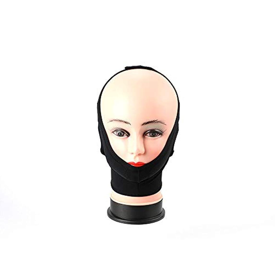 考えた散髪本気フェイスリフティング包帯、フェイスリフティングマスクリフティングおよびラインの引き締めライン形状/リフティングVフェイスアーチファクト(カラー/ブラック),Black,L