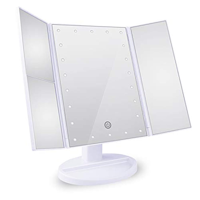 田舎者不注意排泄物Tree. NB 化粧鏡 卓上鏡 拡大鏡 鏡 メイクミラー 2倍&3倍拡大可能 LEDライトミラー 明るさ調節可能 180°回転 電池&USB 2WAY給電