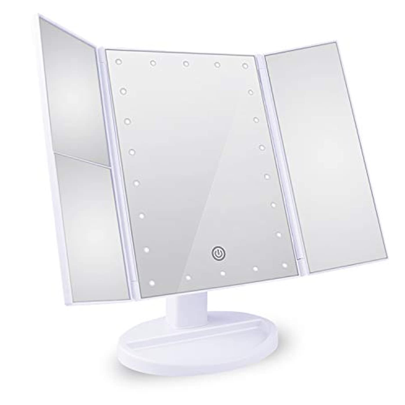 マウンド細い不誠実Tree. NB 化粧鏡 卓上鏡 拡大鏡 鏡 メイクミラー 2倍&3倍拡大可能 LEDライトミラー 明るさ調節可能 180°回転 電池&USB 2WAY給電