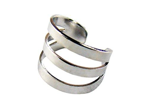 [해외]waiwa 남성 여성이야 카후 이어 클립 (3 선 디자인) 실버 컬러 YS-15600C/waiwa Men`s Women`s Ear Cuff Year Clip (3 Line Design) Silver Color YS-15600C