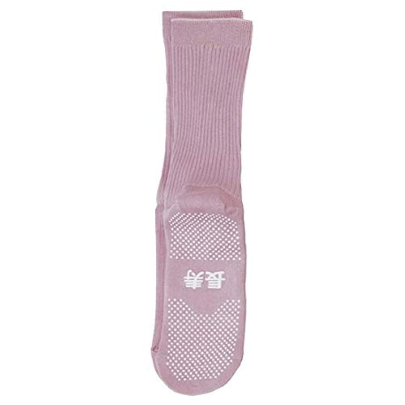 パンダステージバタフライコベス 婦人すべり止め綿混ソックス長寿 春夏用 22~24cm ピンク