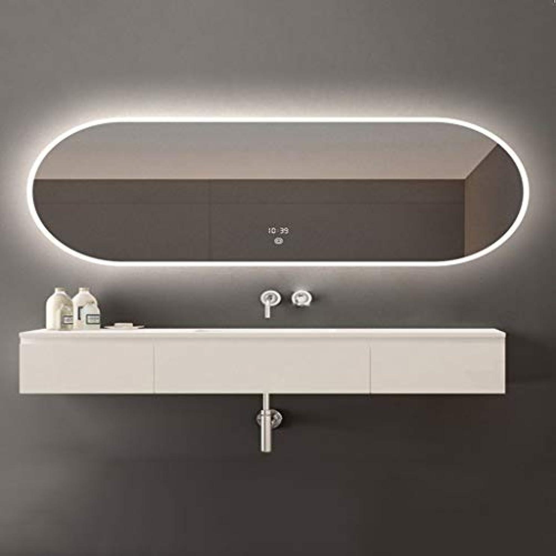 皿鰐セミナーSWNE LED照明付き浴室壁掛けミラー+防曇+調光対応タッチボタン+ IP44防水、化粧用化粧化粧品または剃毛、防爆