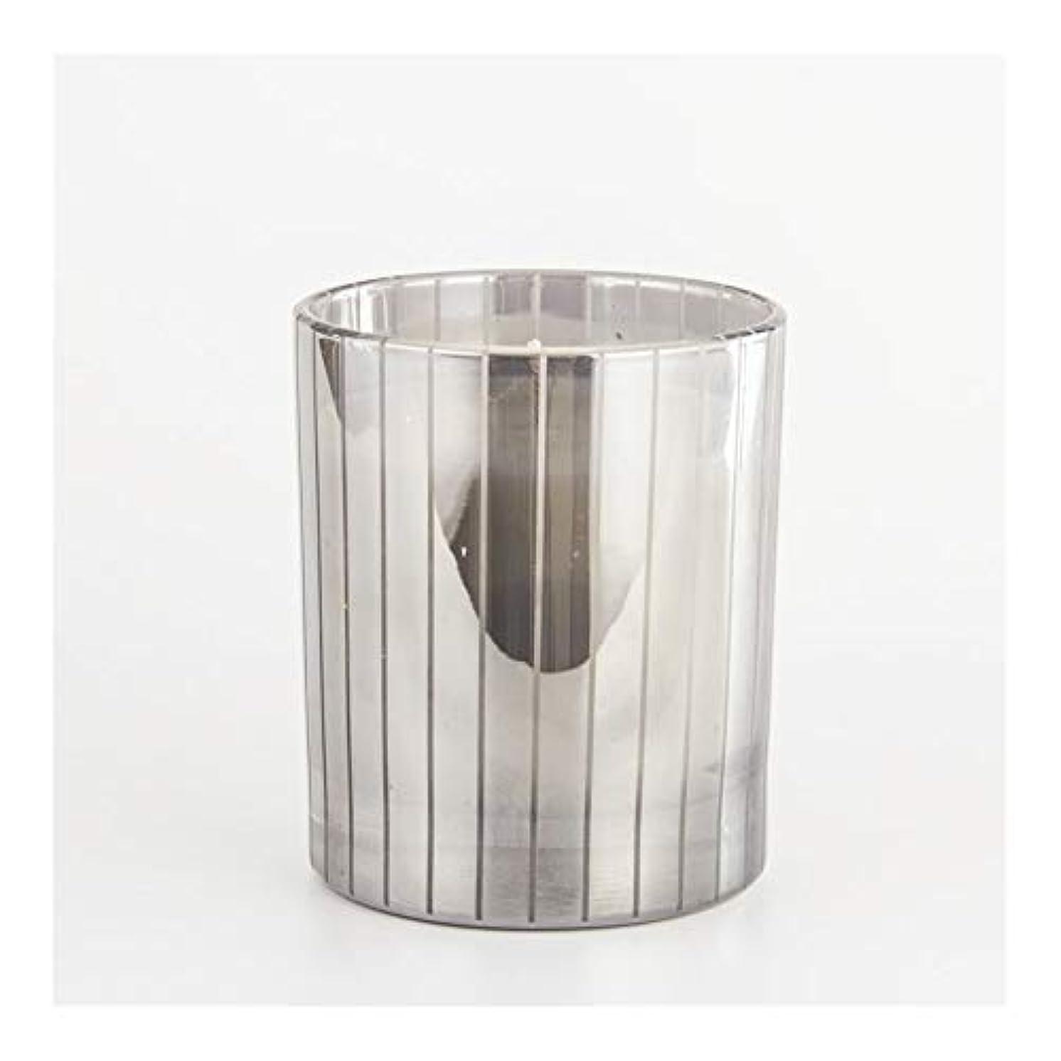 レンダリング謎支払いGuomao シルバーストライプカップキャンドルカップワックスワックスアロマセラピーキャンドルガラスワックスカップ