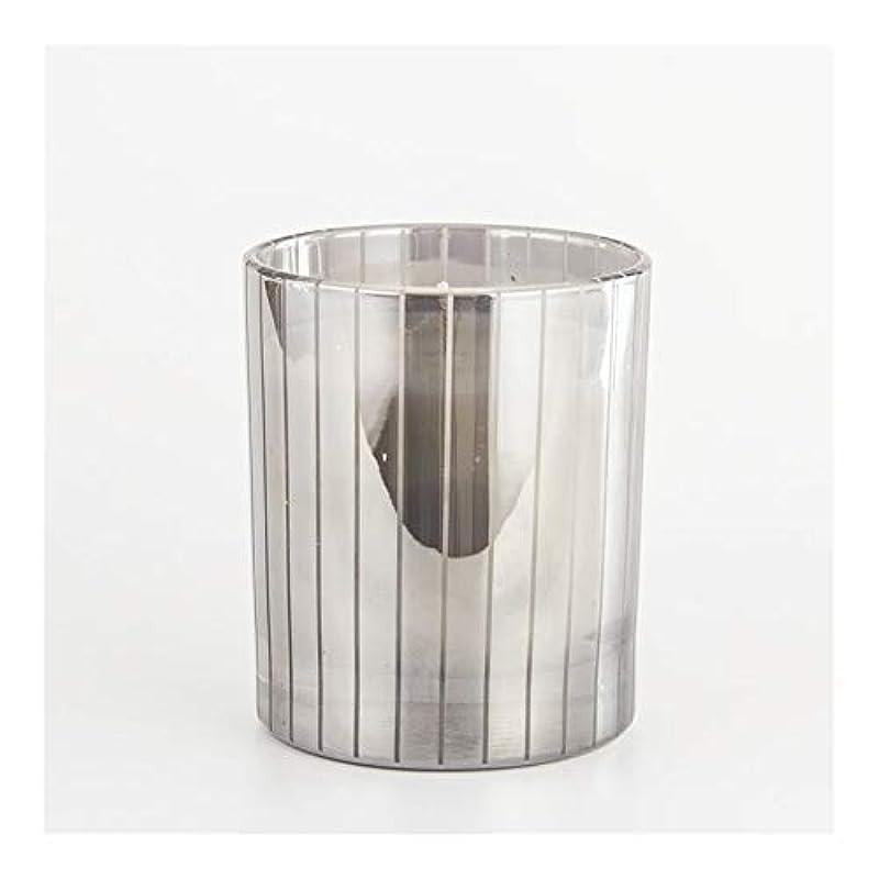 抵抗力がある拡大するボタンACAO シルバーストライプカップキャンドルカップワックスワックスアロマセラピーキャンドルガラスワックスカップ