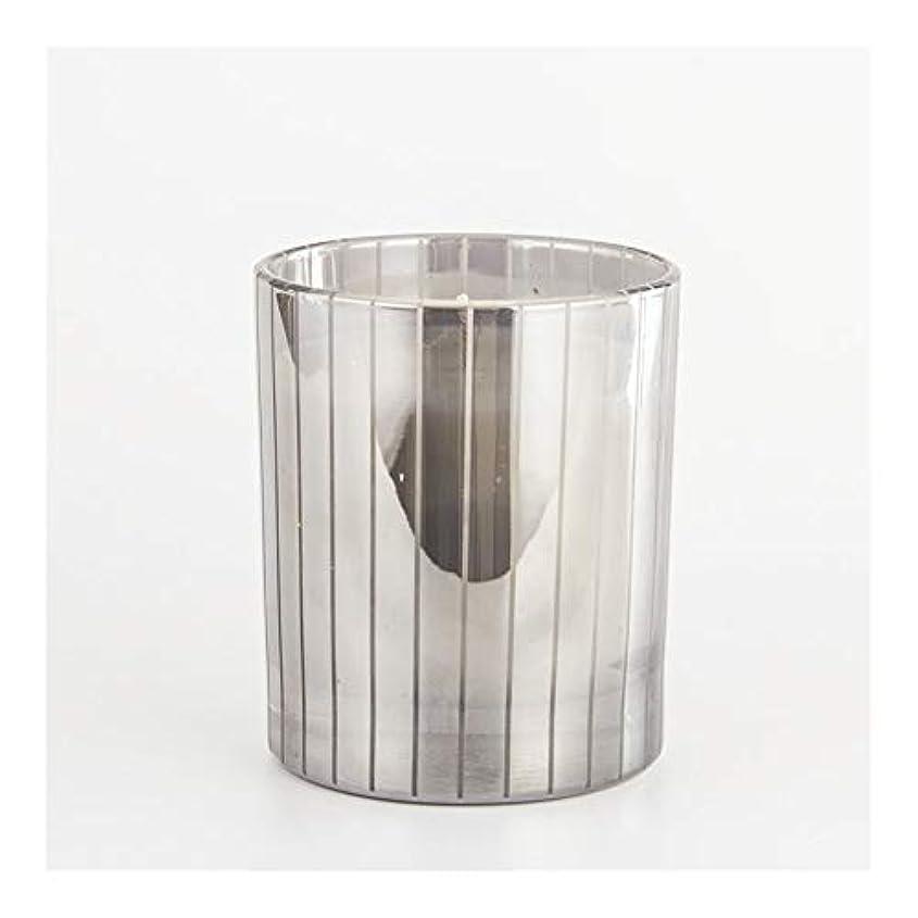 丁寧ペニーはねかけるGuomao シルバーストライプカップキャンドルカップワックスワックスアロマセラピーキャンドルガラスワックスカップ