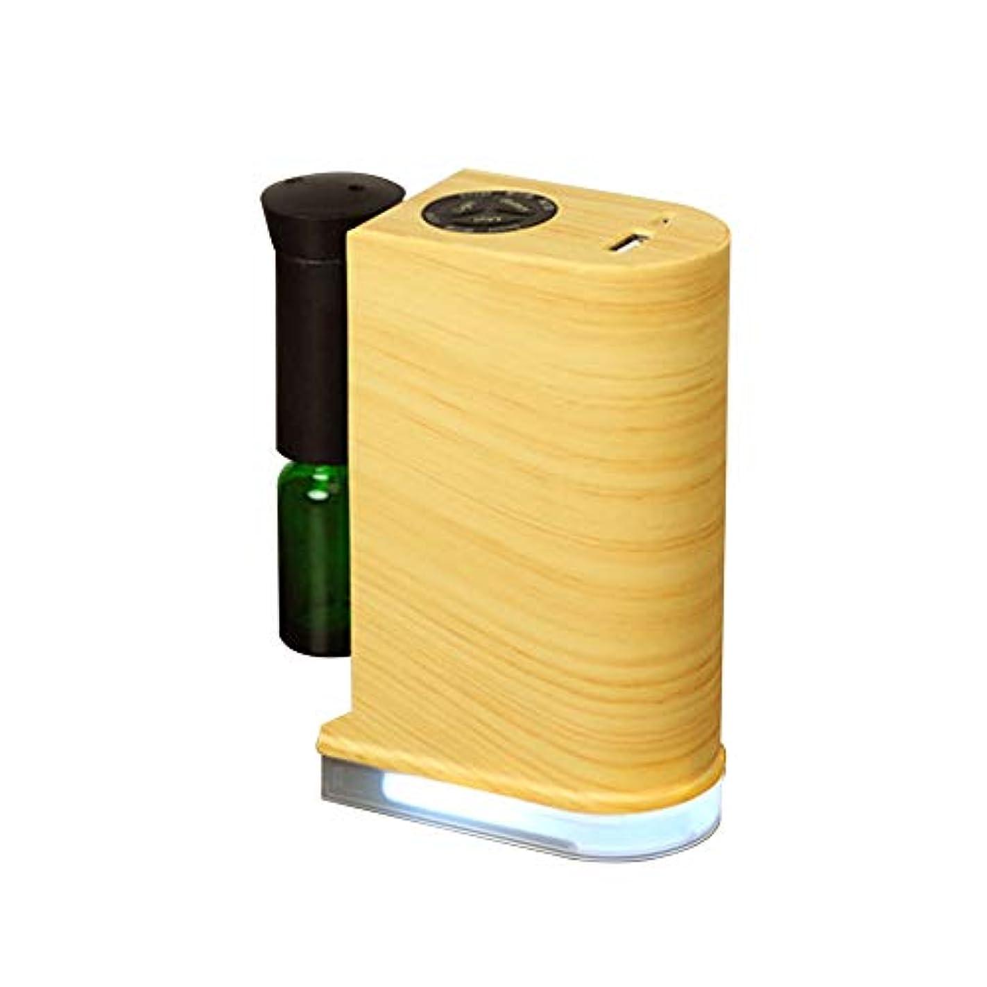 教育学側ボックスネブライザー式アロマディフューザー 水を使わない アロマオイル対応 LEDライト付き スマホ充電可能 USBポート付き 木目調 (ナチュラル)