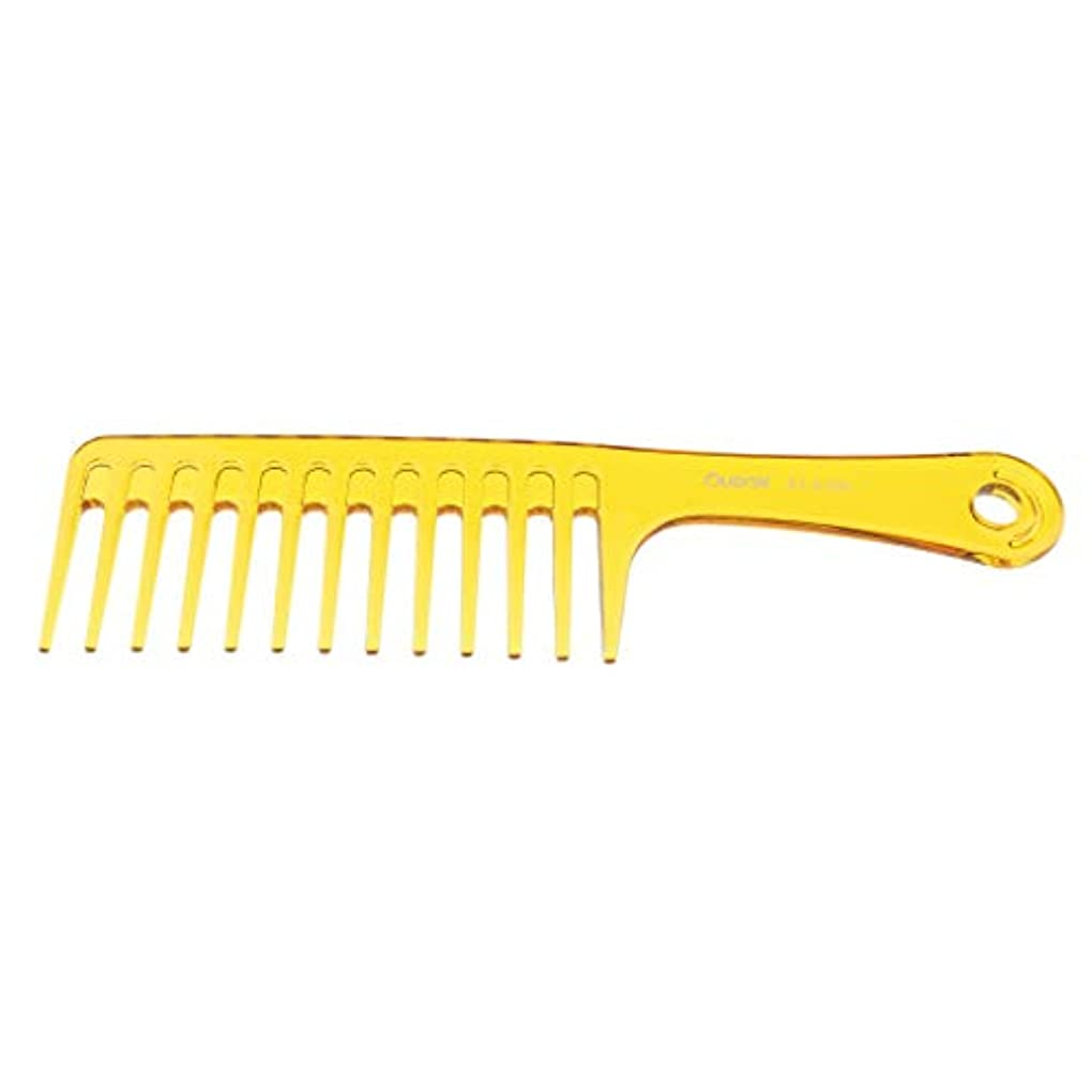 バーマド手段時F Fityle ヘアブラシ 巻き毛太い髪 広い歯櫛 サロン ヘアスタイリング 2色選べ - 黄