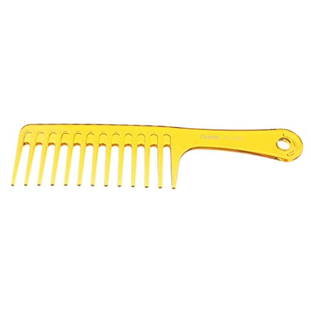 F Fityle ヘアブラシ 巻き毛太い髪 広い歯櫛 サロン ヘアスタイリング 2色選べ - 黄