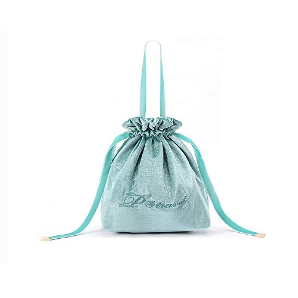 広まった強化ふりをするコスメポーチ 巾着 化粧 ポーチ ポータブル旅行メイクバッグ 旅行化粧バッグ 大容量 超軽量 便利 旅行 (ライトブルー)
