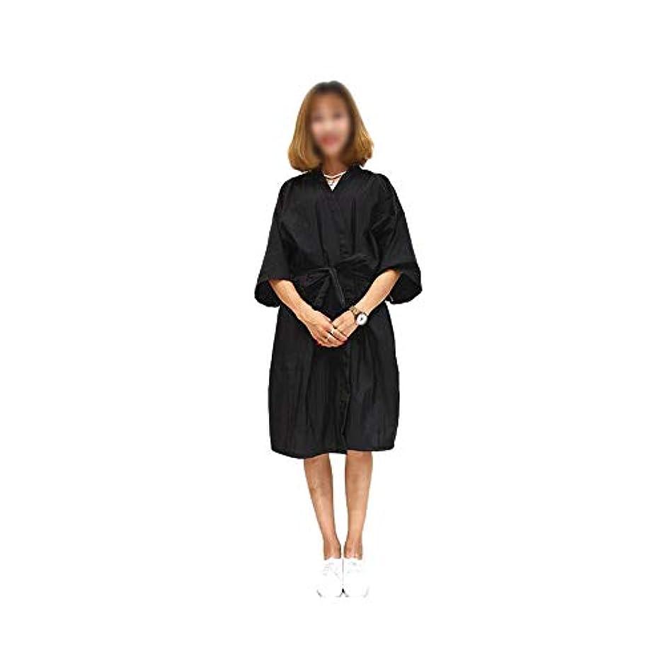 Lucy Day サロンヘアカットガウンバーバーケープクロスビューティースパ衣類ヘアスタイリングケープナイロンヘアカット (色 : 黒)
