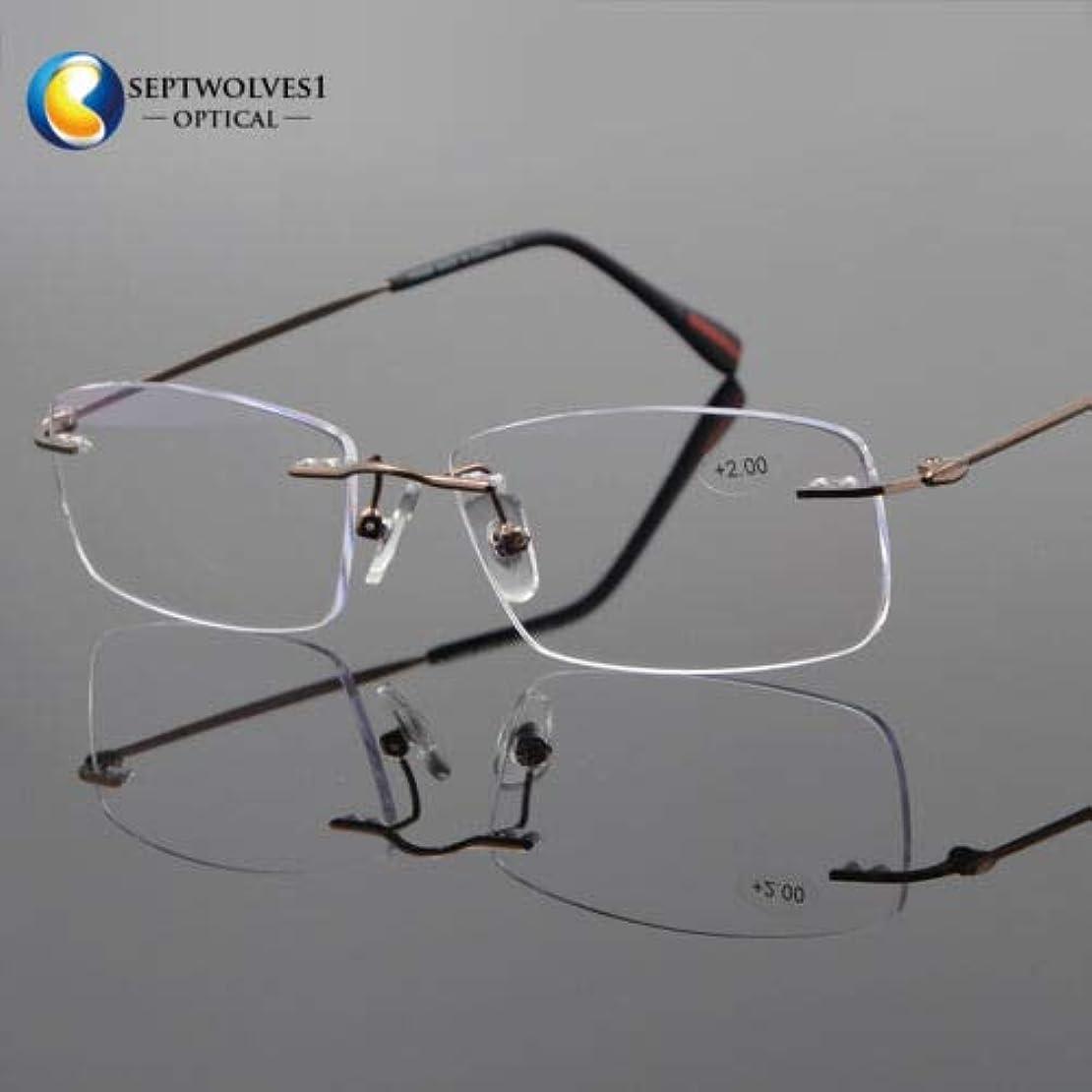 FidgetGear 新しいβチタン縁なし老眼鏡UV400コーティングレンズリーダー+0.00?+ 5.00 褐色