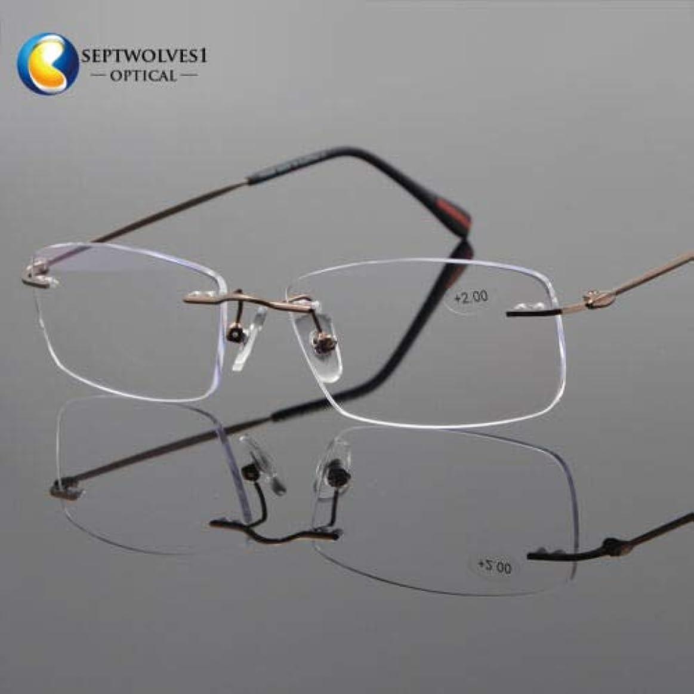 偽善震え分類するFidgetGear 新しいβチタン縁なし老眼鏡UV400コーティングレンズリーダー+0.00?+ 5.00 褐色