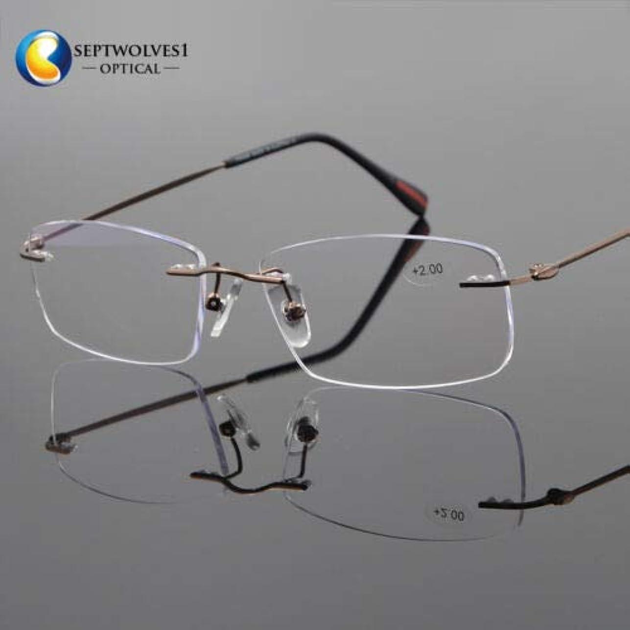 財政学部暴力FidgetGear 新しいβチタン縁なし老眼鏡UV400コーティングレンズリーダー+0.00?+ 5.00 褐色