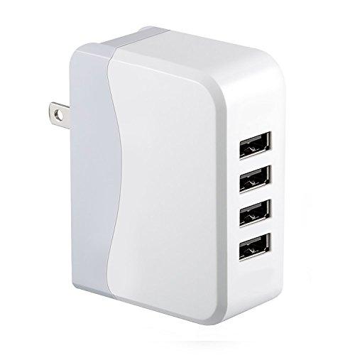 4ポート ac アダプタ 急速充電 チャージャー USB-AC充電器アダプタ 2.1A対応 出力合計最大4A 100V~240V対応 20W スイングACプラグ iPhone iPad Android 携帯電話 スマホ タブレット WiFiルーターなど (ホワイト) HC251-4U