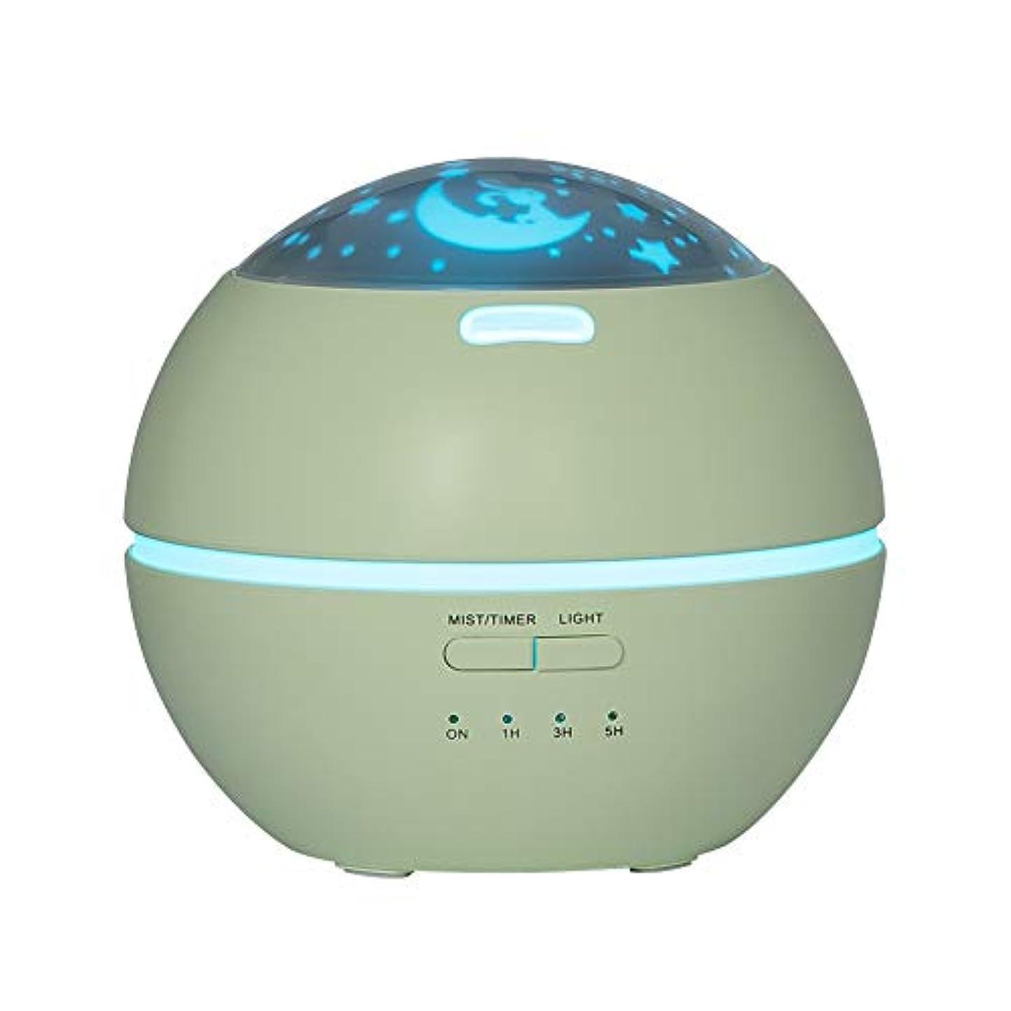醸造所雰囲気校長LIBESON 加湿器 卓上 超音波式 アロマディフューザー 8色LEDライト変換 超静音 ミス調整可能 時間設定タイマー機能付き 空焚き防止機能搭載 アロマ加湿器 ホワイト150mL (グリーン)