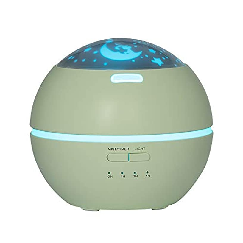 LIBESON 加湿器 卓上 超音波式 アロマディフューザー 8色LEDライト変換 超静音 ミス調整可能 時間設定タイマー機能付き 空焚き防止機能搭載 アロマ加湿器 ホワイト150mL (グリーン)
