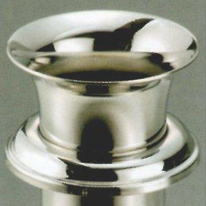 お墓用花立 高級ステンレス製 中入れ式 ツバ付 筒径:38mm リング下深さ:85mm 1対2本セット[W-39]