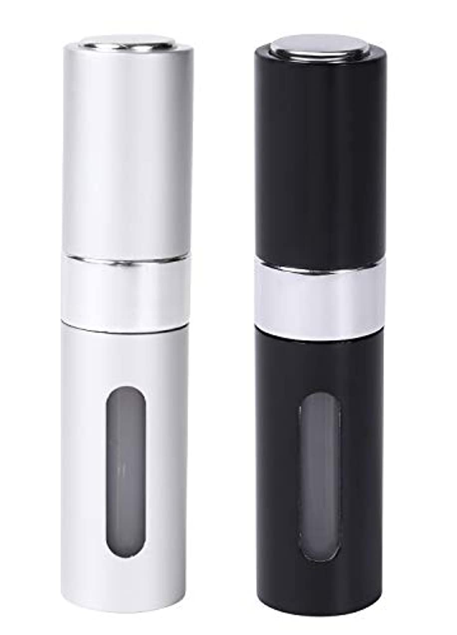 モロニックいま濃度Coffeefreaks アトマイザー 香水 詰め替え 携帯 スプレーボトル ワンタッチ補充 8ml (ブラックシルバーセット)