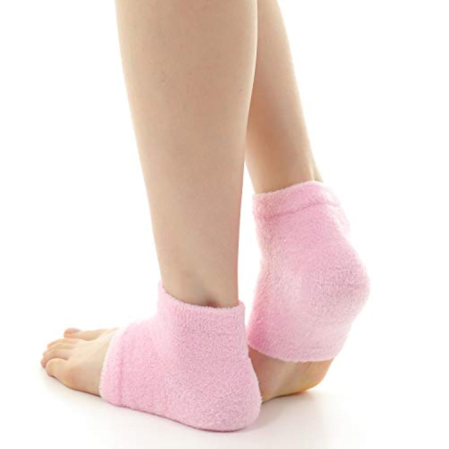疼痛学期落ち着くドットジャパン かかとケア ぷるもこ ジェルソックス サポーター ひび割れ 角質取り 保湿 靴下 フリーサイズ (ピンク)