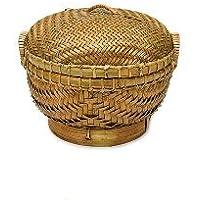 カリマンタン蓋付カゴ 丸 Sサイズ 直径.20cm アジアン雑貨