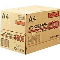 (まとめ)オフィス用紙カラーR100 A4オレンジ 1箱(2500枚:500枚×5冊) 【×2セット】 〈簡易梱包